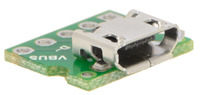 Close-up of Micro-B connector on the USB Micro-B connector breakout board.
