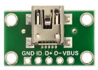 USB Mini-B connector breakout board, top view.