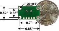 USB Mini-B connector breakout board, bottom view with dimensions.