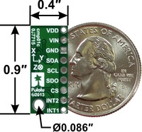 LSM303D 3D compass and accelerometer carrier with voltage regulator, bottom view with dimensions.