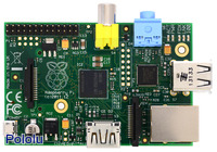 Raspberry Pi Model B, Revision 2.0, top view.