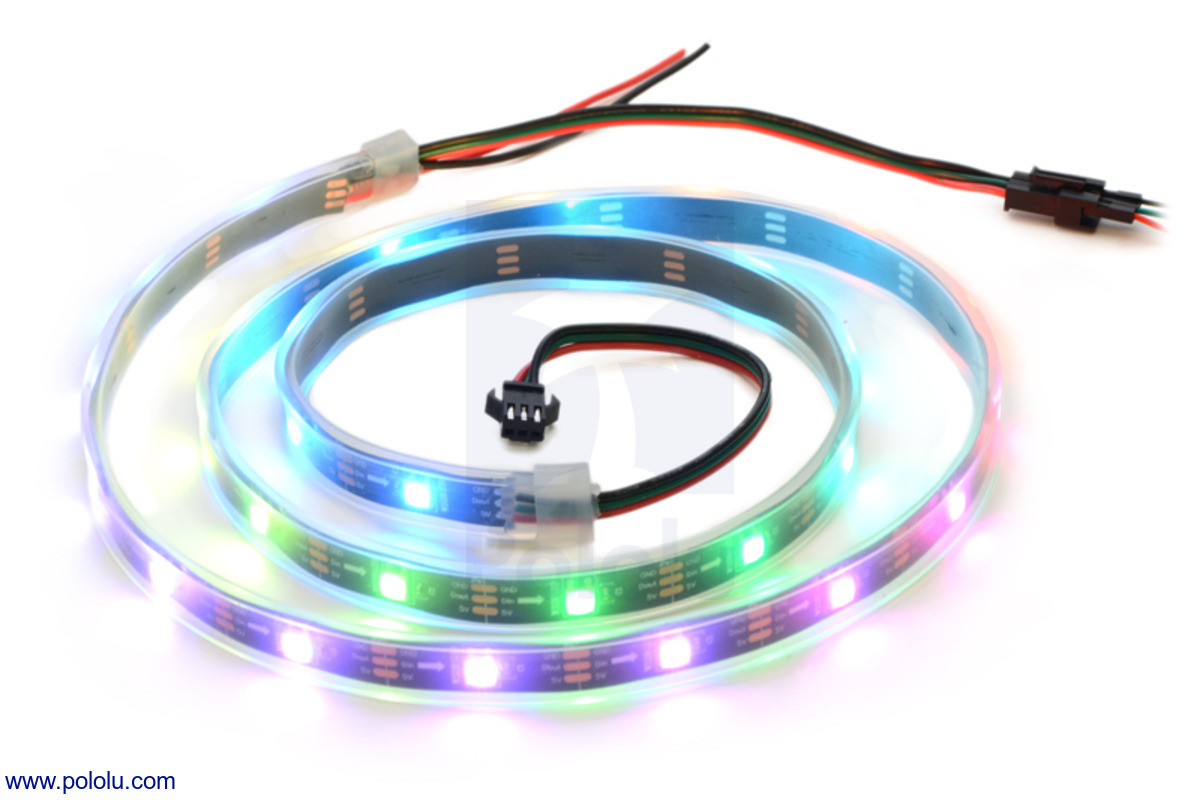 Pololu Addressable Rgb 30 Led Strip 5v 1m Ws2812b Wiring New