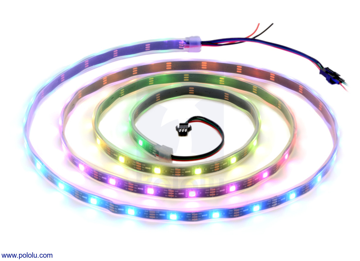 Pololu Addressable Rgb 60 Led Strip 5v 2m Ws2812b Standard 7 Pin Wiring The Auxiliary In Middle Is Setup From New