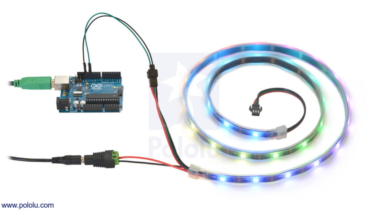 Pololu addressable rgb 60 led strip 5v 2m ws2812b controlling an addressable rgb led strip with an arduino and powering it from a 5v wall power adapter aloadofball