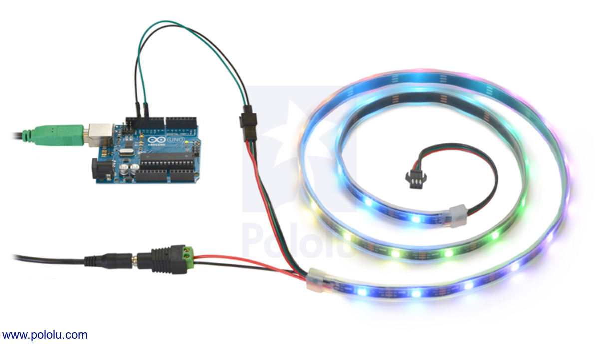 Pololu addressable rgb 60 led strip 5v 2m ws2812b controlling an addressable rgb led strip with an arduino and powering it from a 5v wall power adapter swarovskicordoba Images