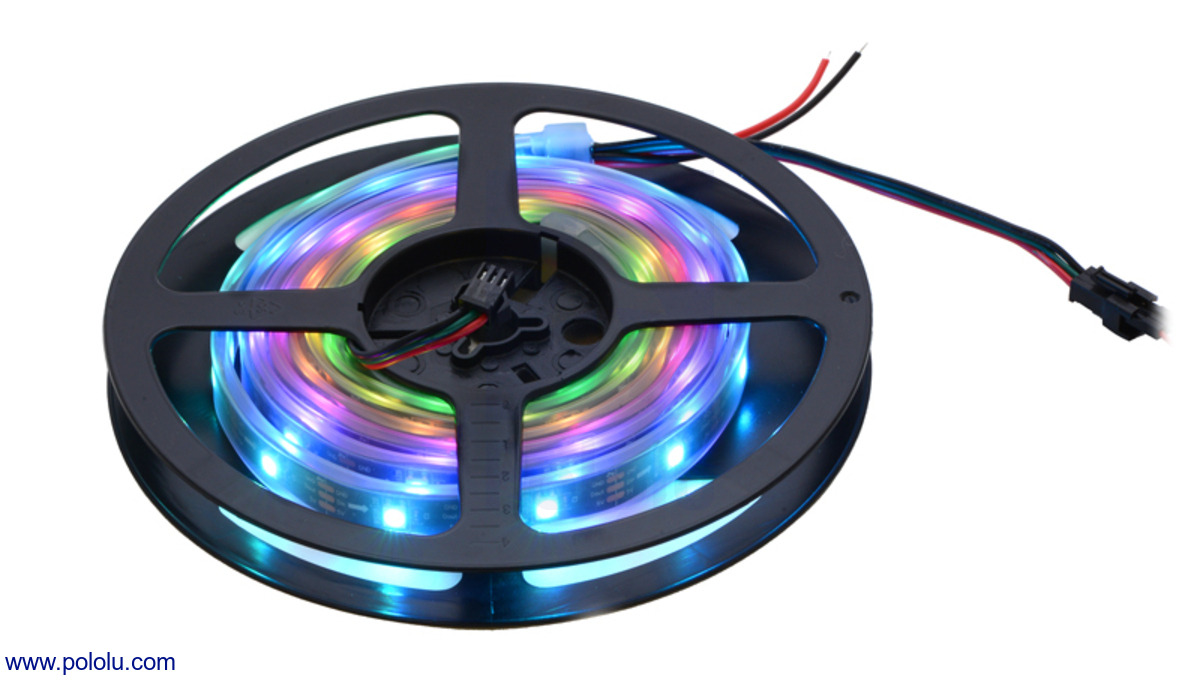 Pololu Addressable Rgb 60 Led Strip 5v 2m Ws2812b Simple Effect Circuit Electronics Projects Circuits A 2 Meter On The Included Reel