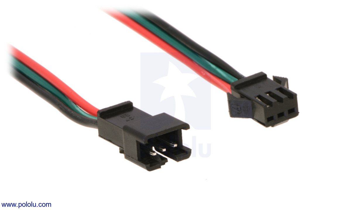 Pololu Addressable Rgb 60 Led Strip 5v 2m Ws2812b Three Lead Wiring Diagram A Close Up Of The Jst Sm Connectors For Our Strips