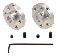 A pair of Pololu universal aluminum mounting hubs for 1/4 inch diameter shafts.