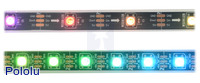 LED side of the WS2812B-based addressable LED strips. The upper strip has 30 LEDs per meter and the lower strip has 60 LEDs per meter.