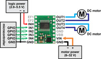 Minimal wiring diagram for connecting a microcontroller to an A4990 dual motor driver carrier.