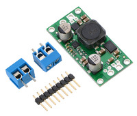 Pololu fixed step-up/step-down voltage regulator S18V20Fx with included optional terminal blocks and header pins.