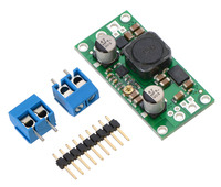 Pololu adjustable step-up/step-down voltage regulator S18V20AHV with included optional terminal blocks and header pins.