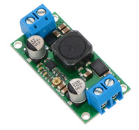 Pololu adjustable step-up/step-down voltage regulator S18V20ALV, assembled with included terminal blocks.