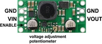 Pololu adjustable step-up/step-down voltage regulator S18V20Ax, labeled top view.