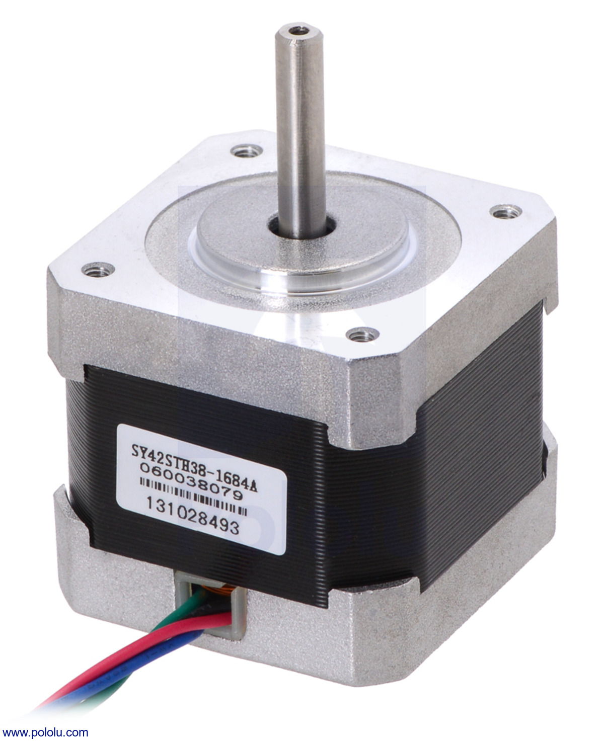 Stepper Motor: Bipolar, 200 Steps/Rev, 42×38mm, 2.8V, 1.7 A/Phase on
