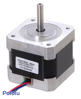 Stepper motor: bipolar, 200 steps/rev, 42×38mm, 2.8V, 1.7  A/phase (SY42STH38-1684A).