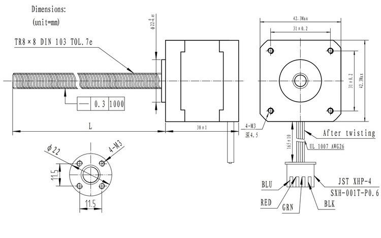 stepper motor with 28cm lead screw  bipolar  200 steps  rev