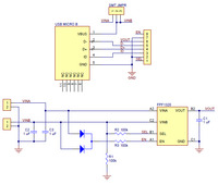 FPF1320 power multiplexer carrier with USB Micro-B connector schematic diagram.
