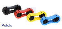 18-link chains of the miniature tank tracks in assorted colors with 8-tooth sprocket pairs.