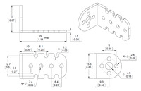 Mechanical drawing for the Pololu 15.5D mm metal gearmotor bracket.  Units are mm over [inches].