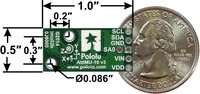 Pololu AltIMU-10 v3 gyro, accelerometer, compass, and altimeter, bottom view with dimensions.