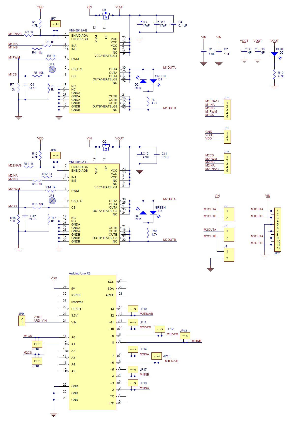 Pololu Schematic Diagram Of The Dual Vnh5019 Motor Driver Electric Shield For Arduino