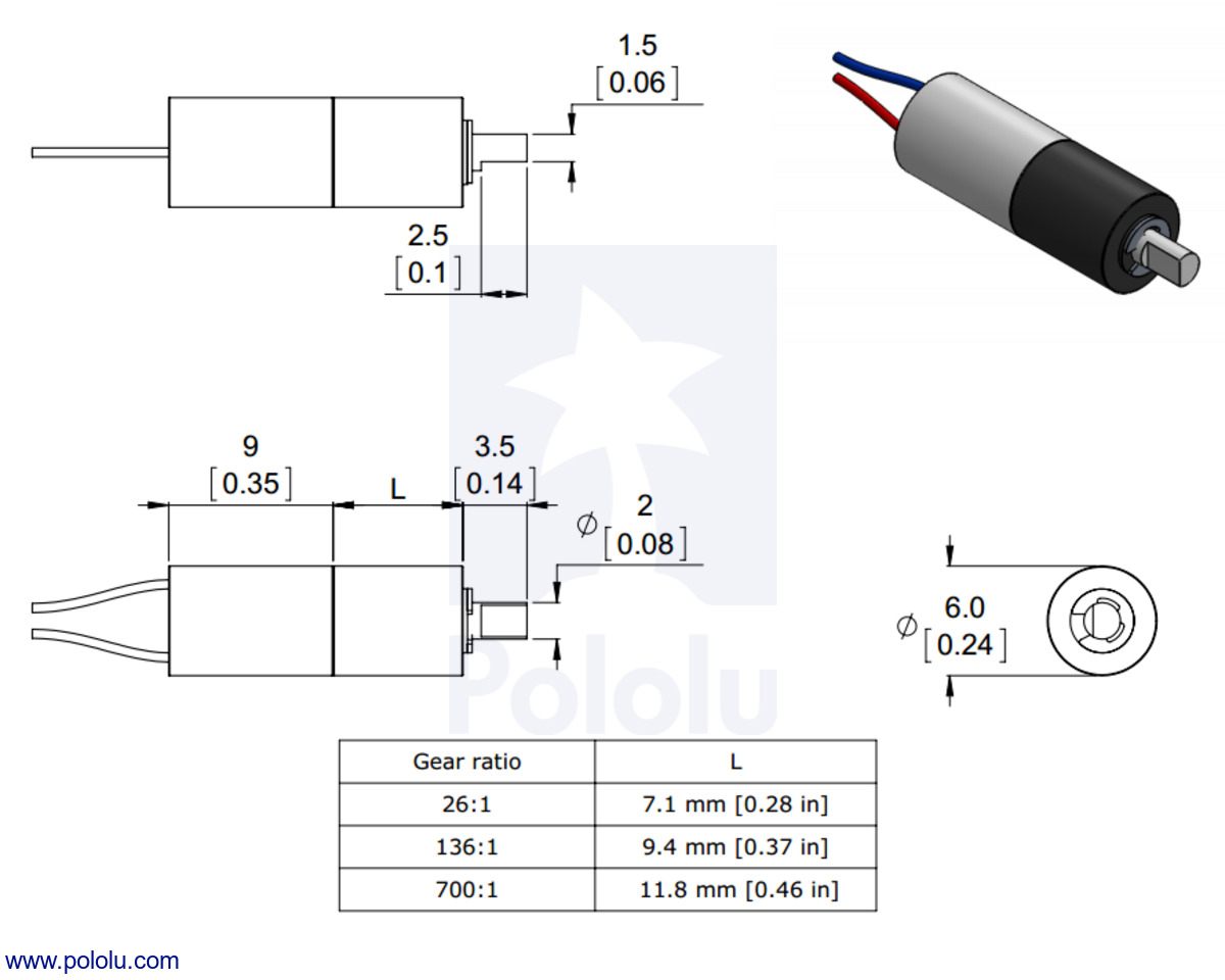 Pololu 1361 Sub Micro Plastic Planetary Gearmotor 6dx19l Mm Need A Litle Help Wiring Motor Doityourselfcom Community Forums Dimensions Of The Gearmotors Units Are Over Inches