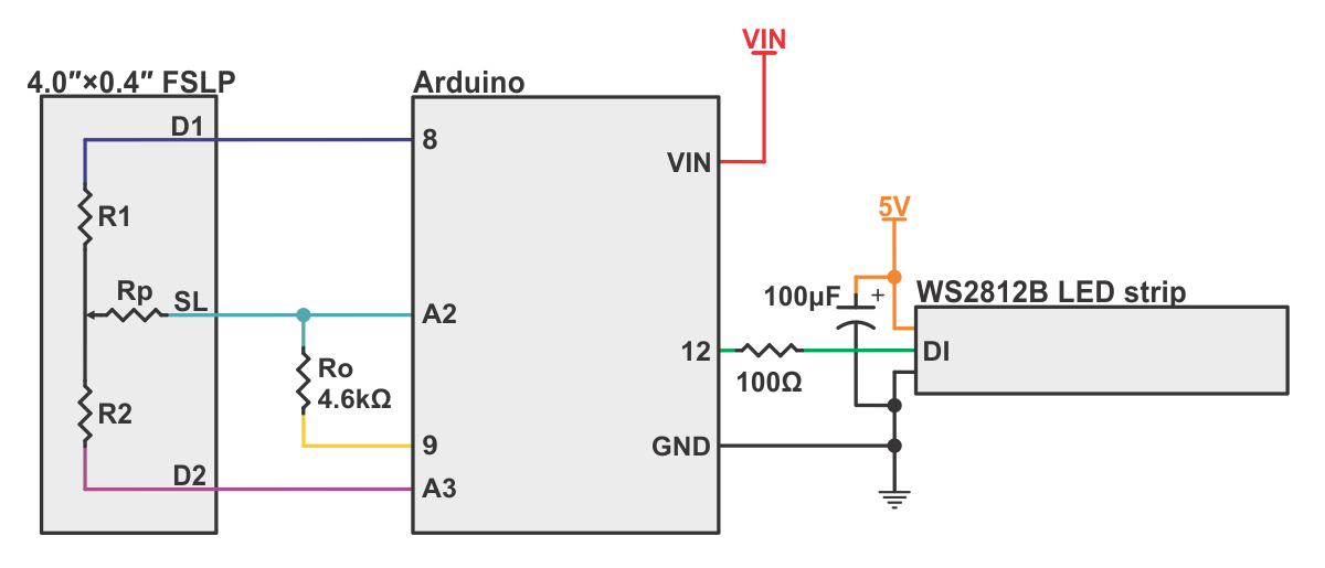 pololu example wiring diagram for controlling a ws2812b led strip rh pololu com linear wire potentiometer linear taper potentiometer wiring