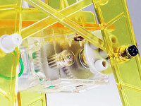 Tamiya 71105 Mechanical Giraffe crank plate and linkage rods close-up.