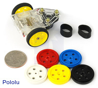 "Solarbotics GM10 1"" plastic wheels."