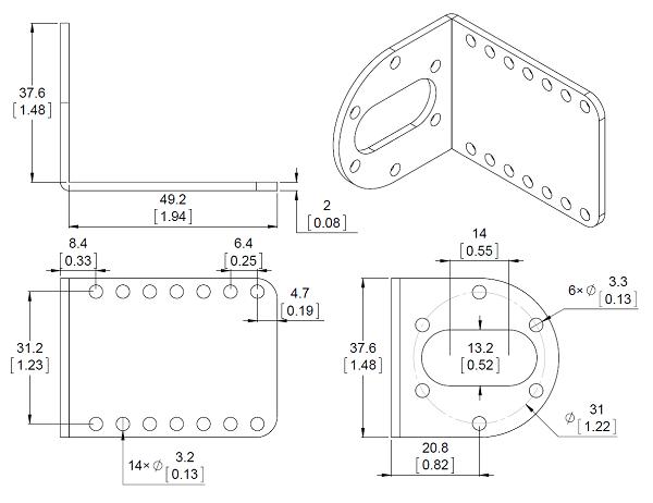Pololu Stamped Aluminum L Bracket Pair For 37d Mm Metal Gearmotors