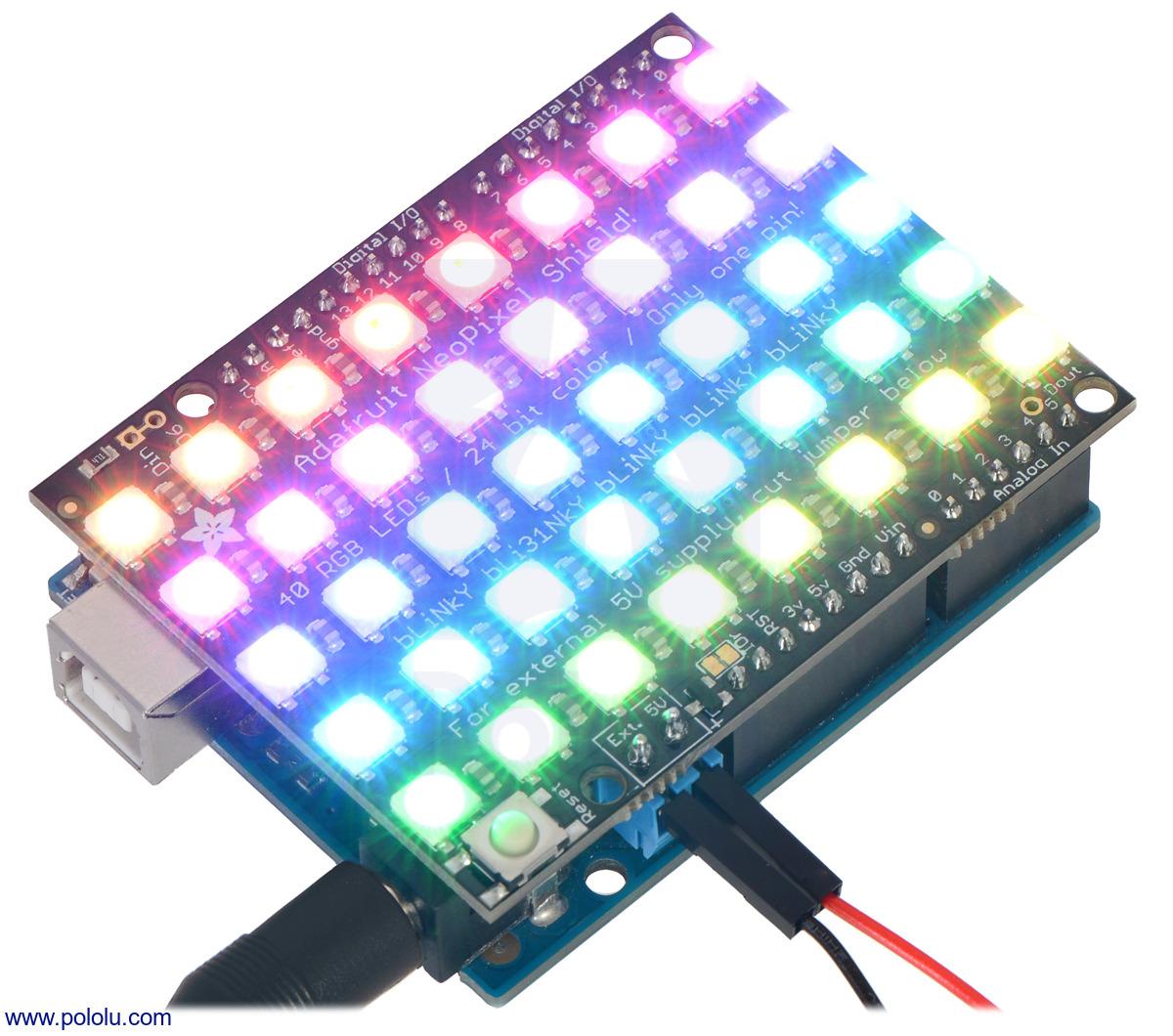 Pololu - Adafruit NeoPixel Shield for Arduino - 40 RGB LED Pixel Matrix