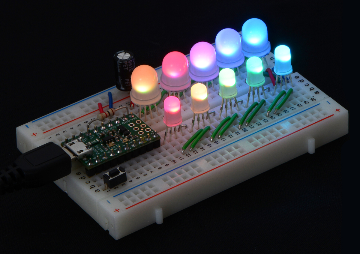 Pololu Addressable Through Hole 5mm Rgb Led With Diffused Lens Circuit On Breadboard Is Overview