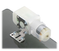 Plastic gearmotor with 90-degree output (item #1120 or #1121) mounted with Pololu extended stamped aluminum L-bracket.