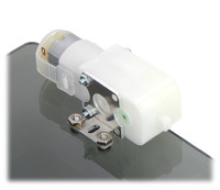 Plastic gearmotor with 90-degree output (item #1120 or #1121) mounted with Pololu stamped aluminum L-bracket.