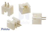 2.5 mm JST XH-Style Shrouded Male Connector: 2-Pin, Straight (4-Pack)