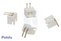 2.5 mm JST XH-Style Shrouded Male Connector: 2-Pin, Right Angle (4-Pack)