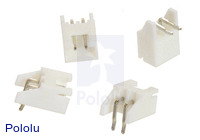 2.5 mm JST XH-Style Shrouded Male Connector: 2-Pin, Right Angle Extended (4-Pack)