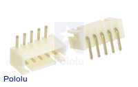 2.5 mm JST XH-Style Shrouded Male Connector: 5-Pin, Right Angle (2-Pack)