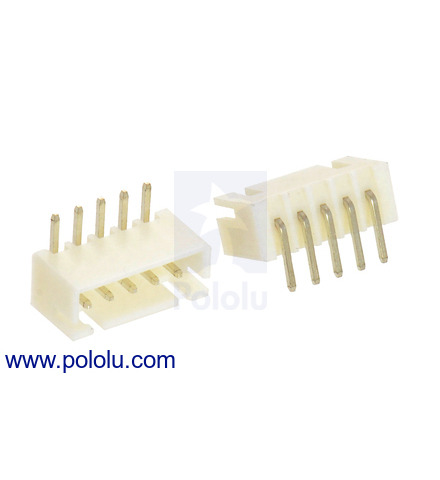2 5 mm jst xh-style shrouded male connector: 5-pin, right angle (2-pack)