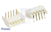 2.5 mm JST XH-Style Shrouded Male Connector: 5-Pin, Right Angle Extended (2-Pack)