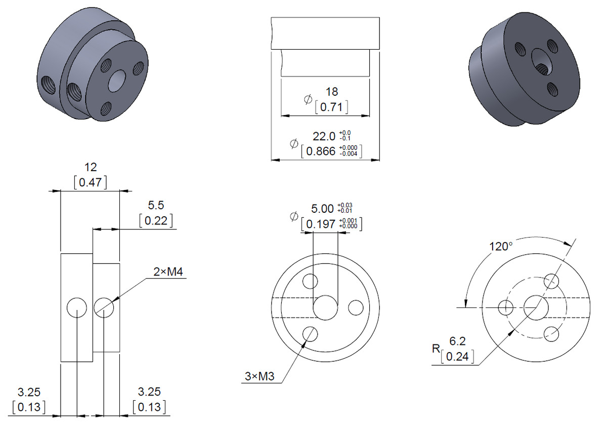 Pololu Aluminum Scooter Wheel Adapter For 5mm Shaft Hub Diagram Dimension Of The Threaded Mount 5 Mm Shafts Units Are Over Inches
