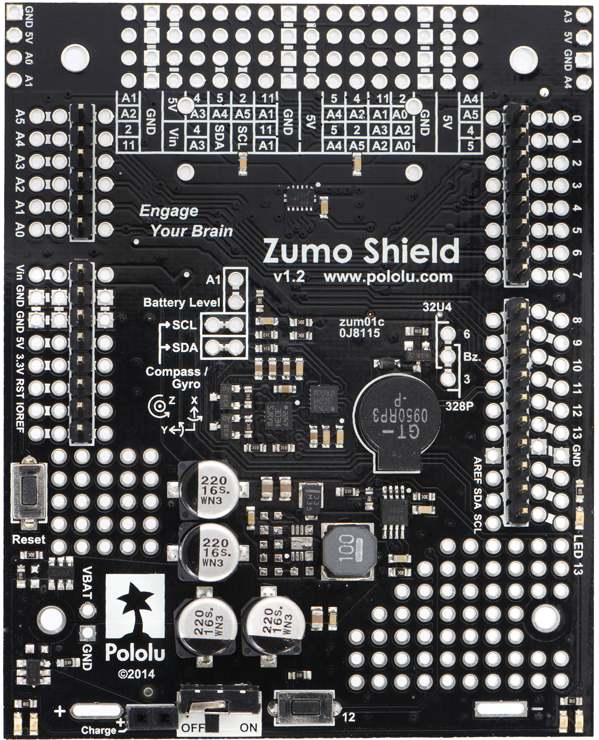Pololu Zumo Shield For Arduino V12 Schematic Diagram Of The Minimu9 Gyro Accelerometer And With Included Through Hole Components Installed