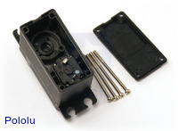 Hitec HS-5475HB servo interior with motor leads visible.