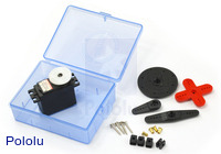 Hitec HS-5475HB servo set showing all included hardware and packaging.