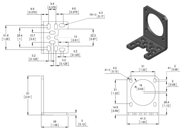 Pololu Stamped Aluminum L Bracket For Nema 17 Stepper Motors