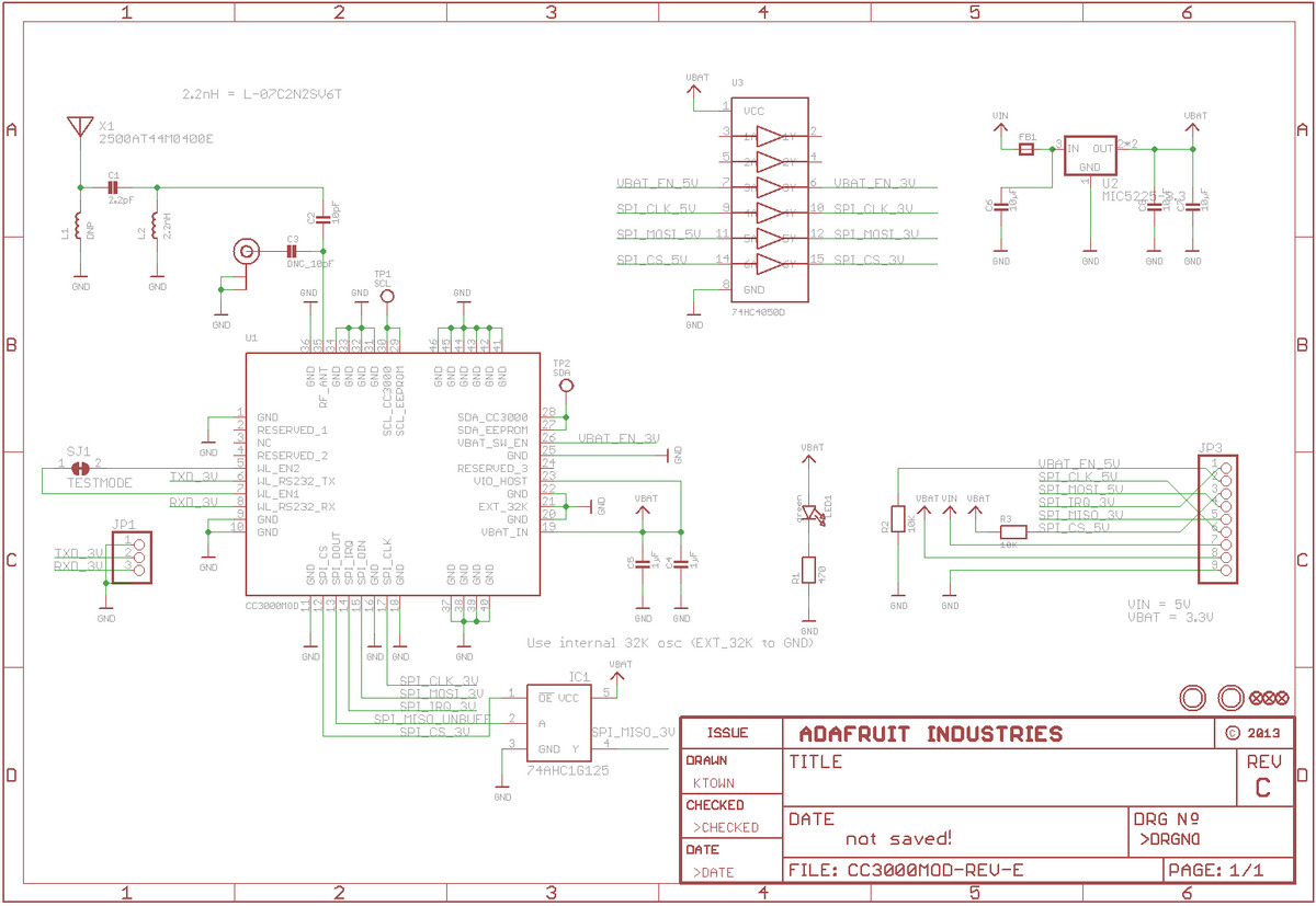 Pololu Adafruit Cc3000 Wi Fi Breakout Board With Onboard Ceramic Wiring Diagrams For Kob Schematic Diagram