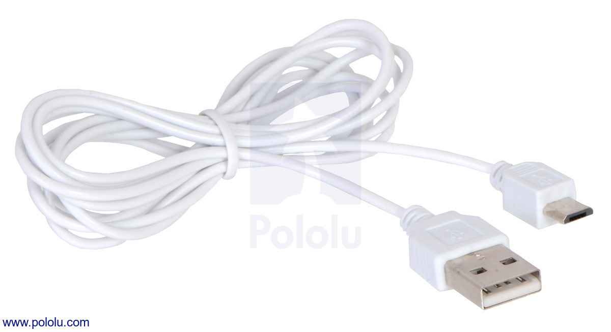 Pololu - Thin (2mm) USB Cable A to Micro-B, 6 ft, Low/Full-Speed Only