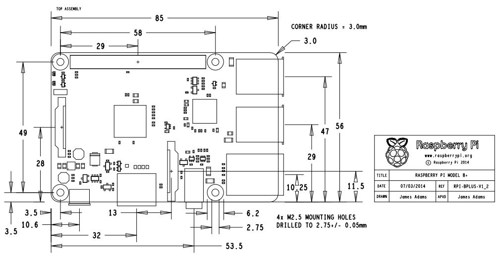 Pololu - Raspberry Pi Model B+ dimensions in millimeters.