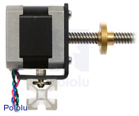 NEMA 17 stepper motor with lead screw mounted with a stamped aluminum L-bracket.